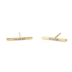 KN Pave Bar Earrings in Gold