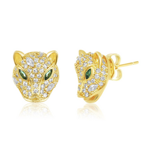 Baby Jaguar Studs in Emerald