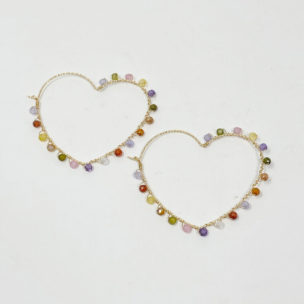 Wrapped Heart Hoops in Candy Beads