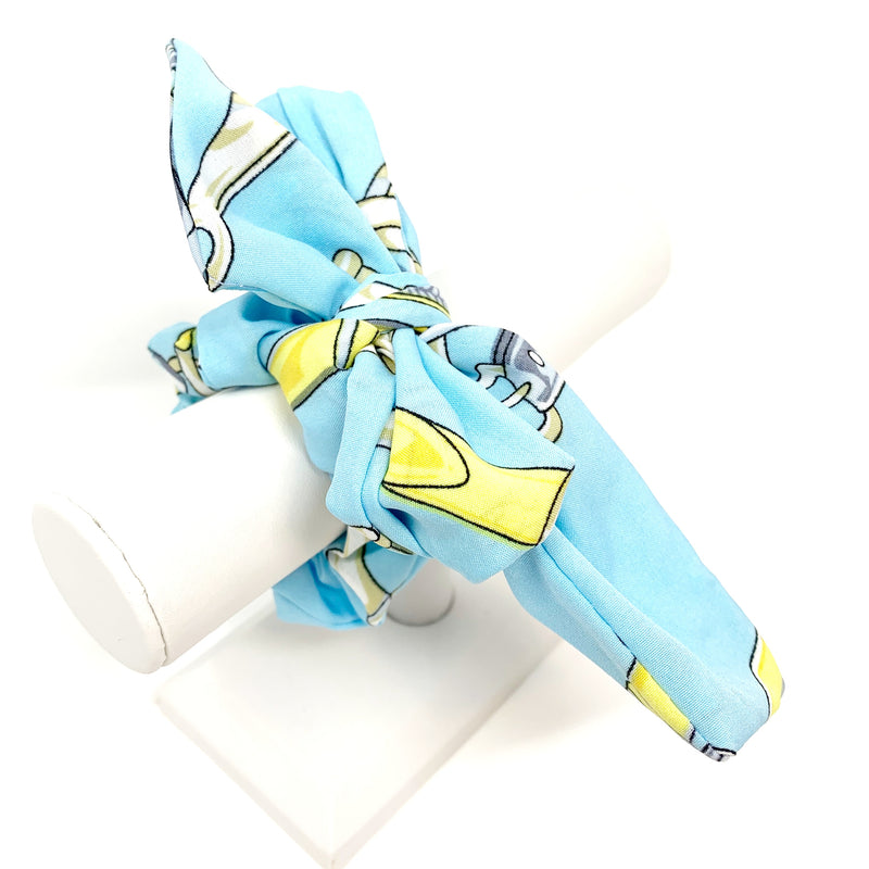 Printed Bow Scarf Scrunchie in Sky Blue