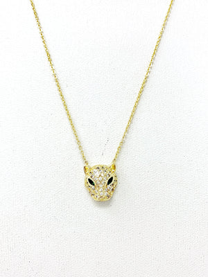Baby Jaguar Necklace with Emerald Green Eyes