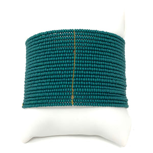 Beaded Cuff in Emerald Green