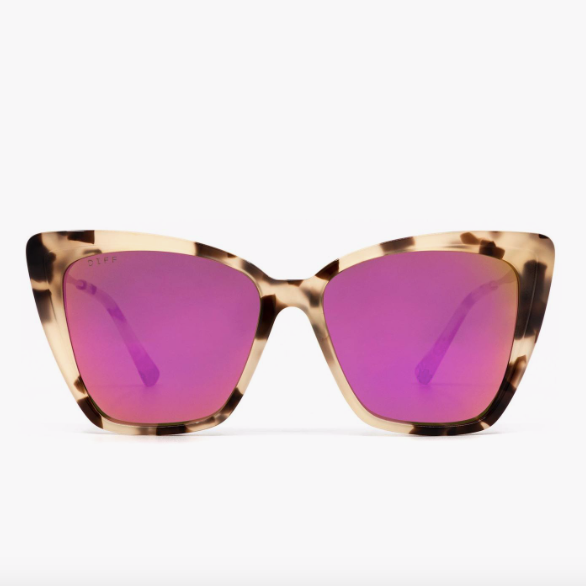 Becky II in Cream Tortoise with Pink Mirror Lens