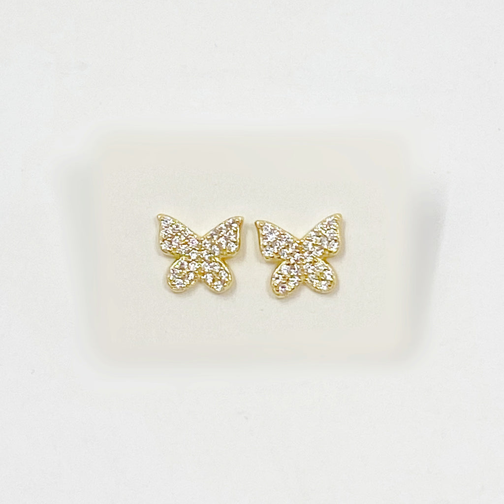 Bigger Butterfly Pave Studs in Gold