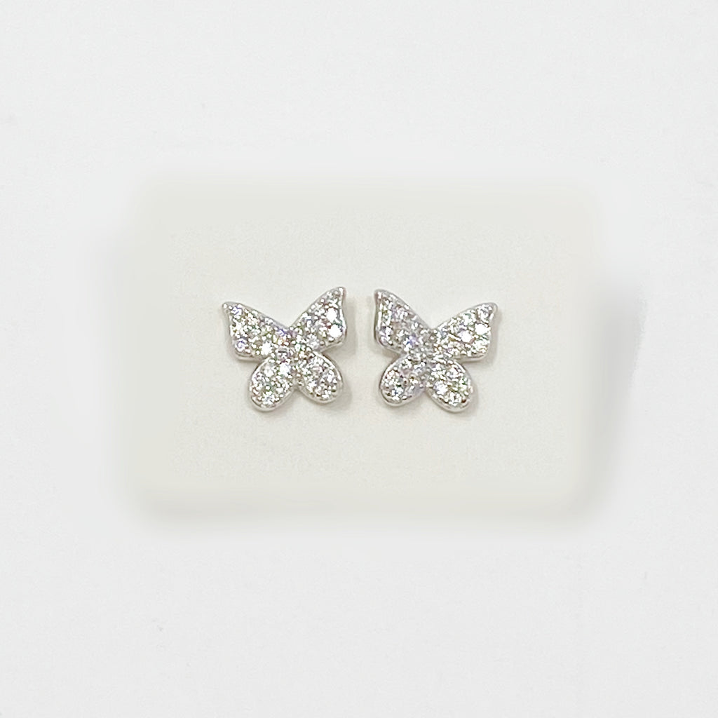 Bigger Butterfly Pave Studs in Silver