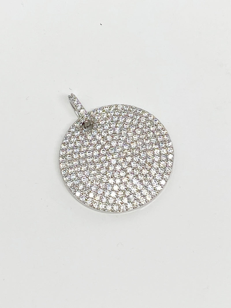 Charming Bigger Pave Circle Charm in Silver