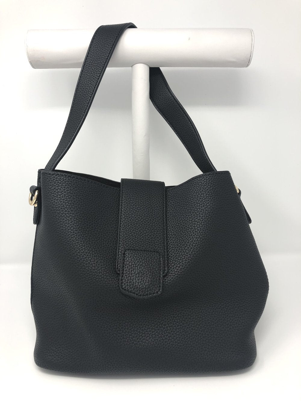 Medium Bucket Bag with Flap Closure in Black