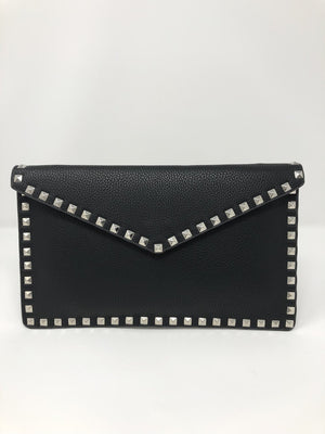 Studded Envelope Clutch in Black