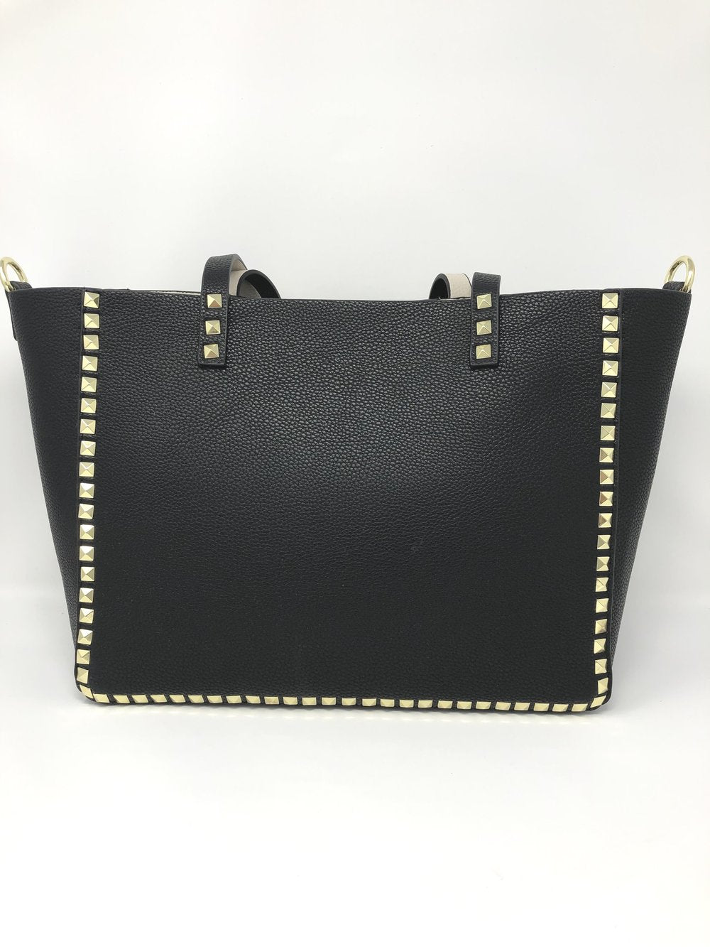 Large Studded Tote with Pouch in Black with Ivory
