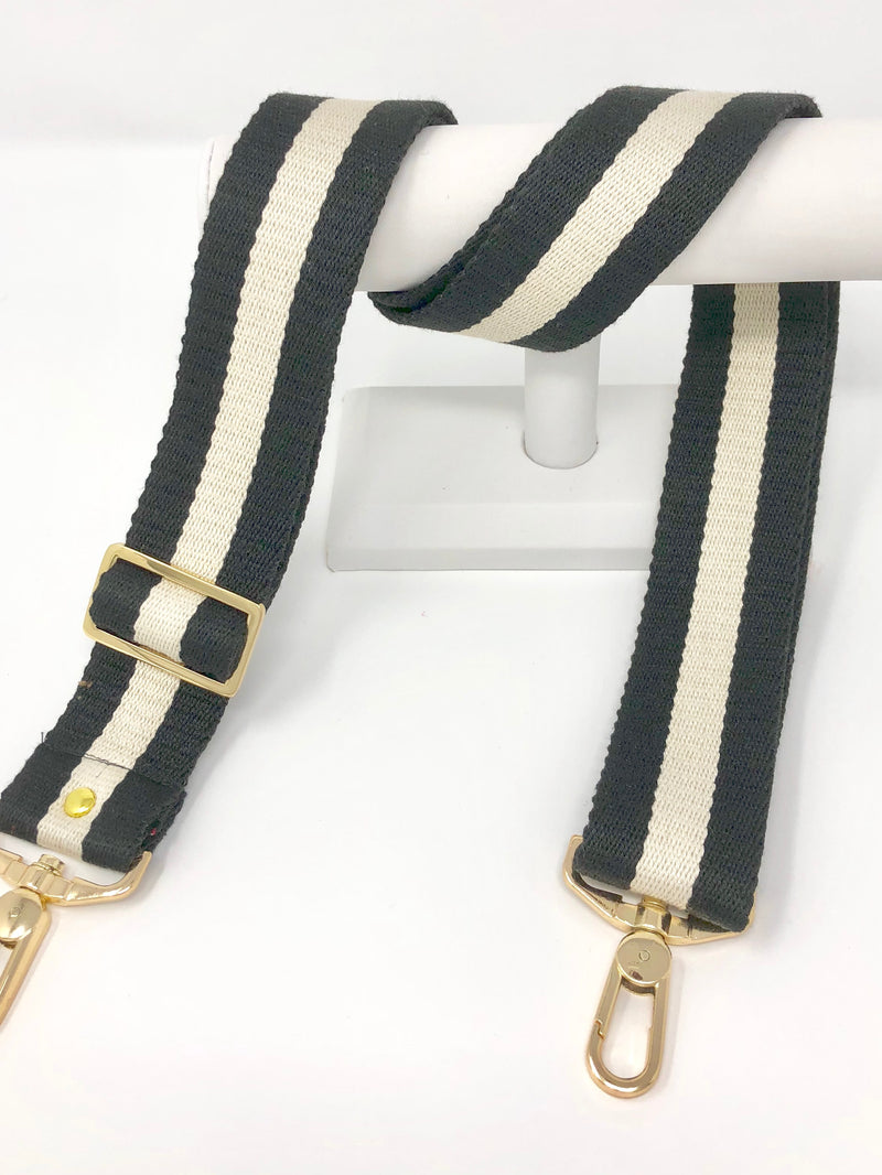 Black and Cream Stripe Strap