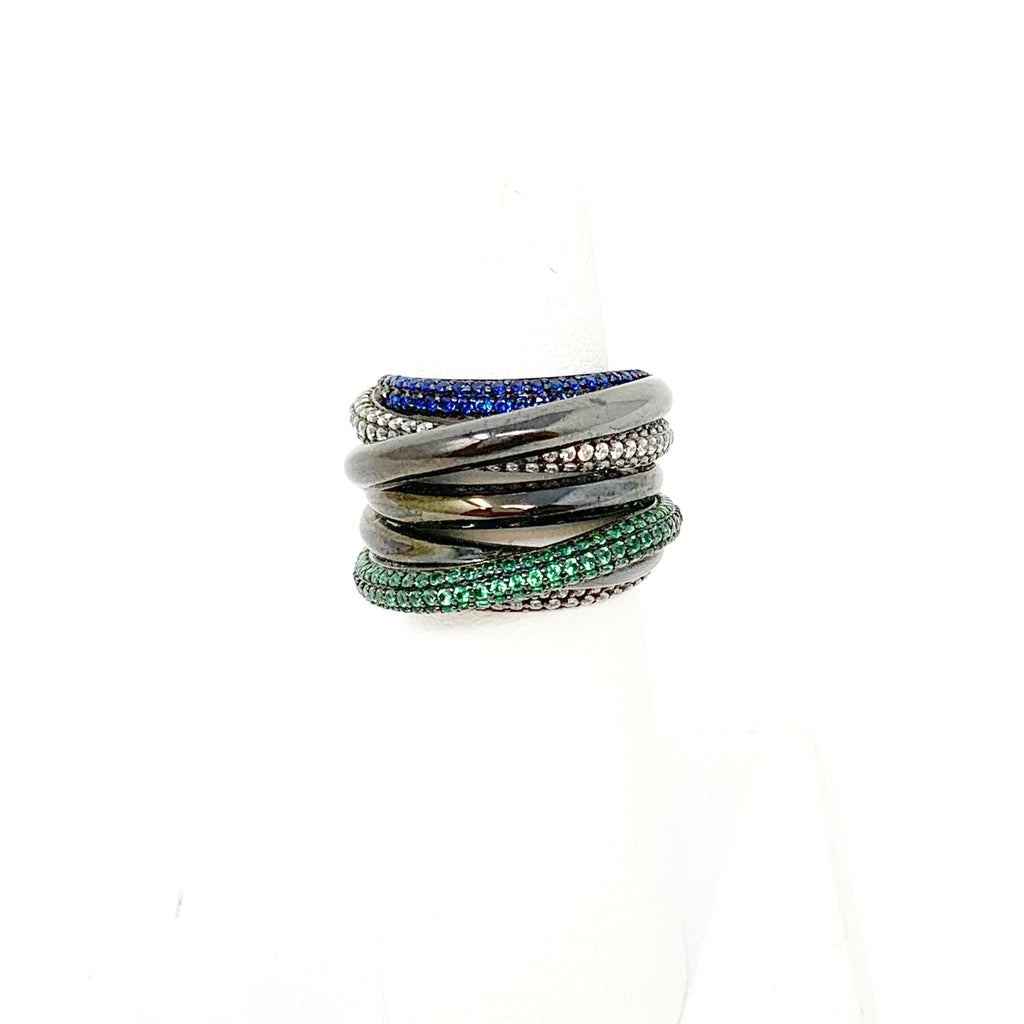 Daniella Coil Ring in Gunmetal with Colorful Pave Stones