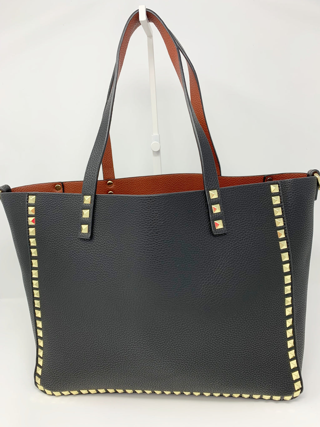 Large Studded Tote with Pouch in Black with Cognac