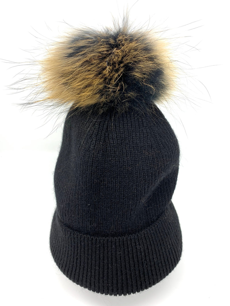 SALE! Fur Pom Hat in Black