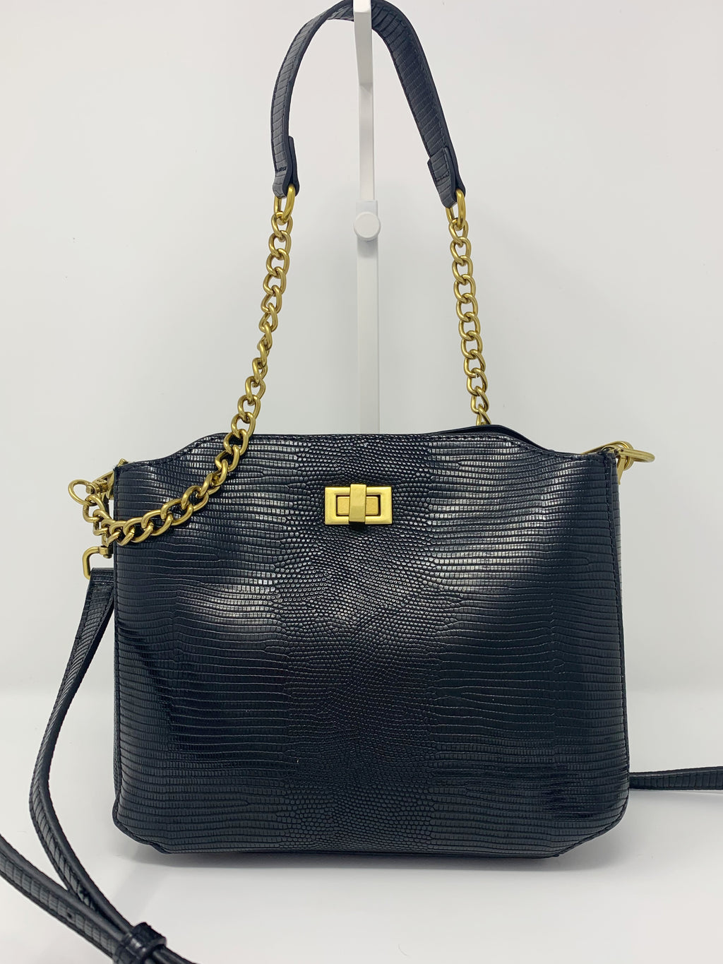 Sale! Reptile Embossed Bucket Bag with Chain and Crossbody Strap in Black