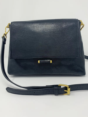 Reptile Embossed Lady Bag withCrossbody Strap in Black