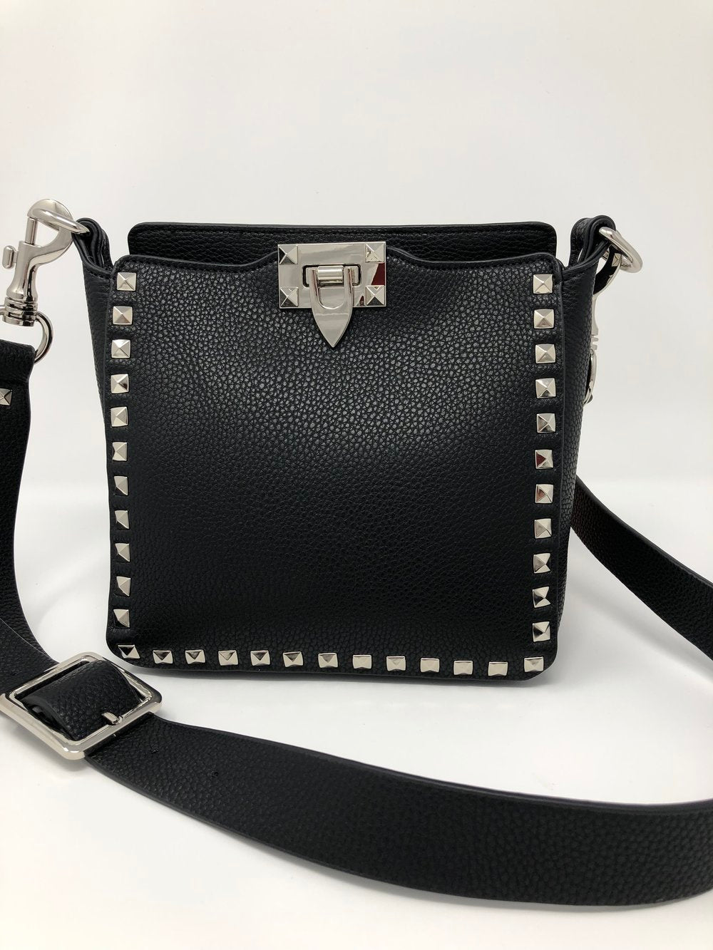 Small Studded Crossbody Bag in Black