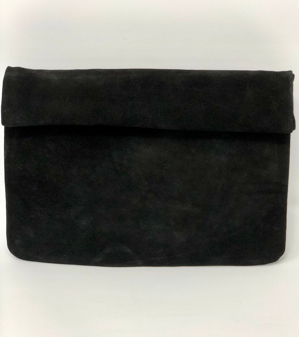 SALE! Black Suede Roll Top Clutch