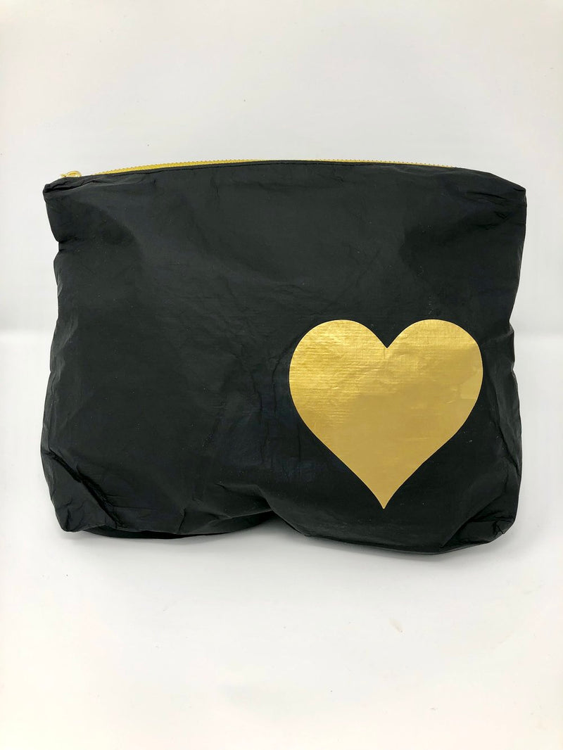 Hi Love Travel Black Medium Pouch with Gold Heart