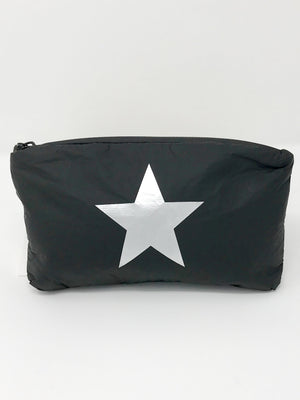 Hi Love Travel Black Small Pouch with Silver Star