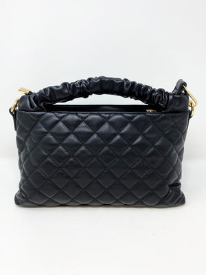 Quilted Bag with Scrunched Handle in Black