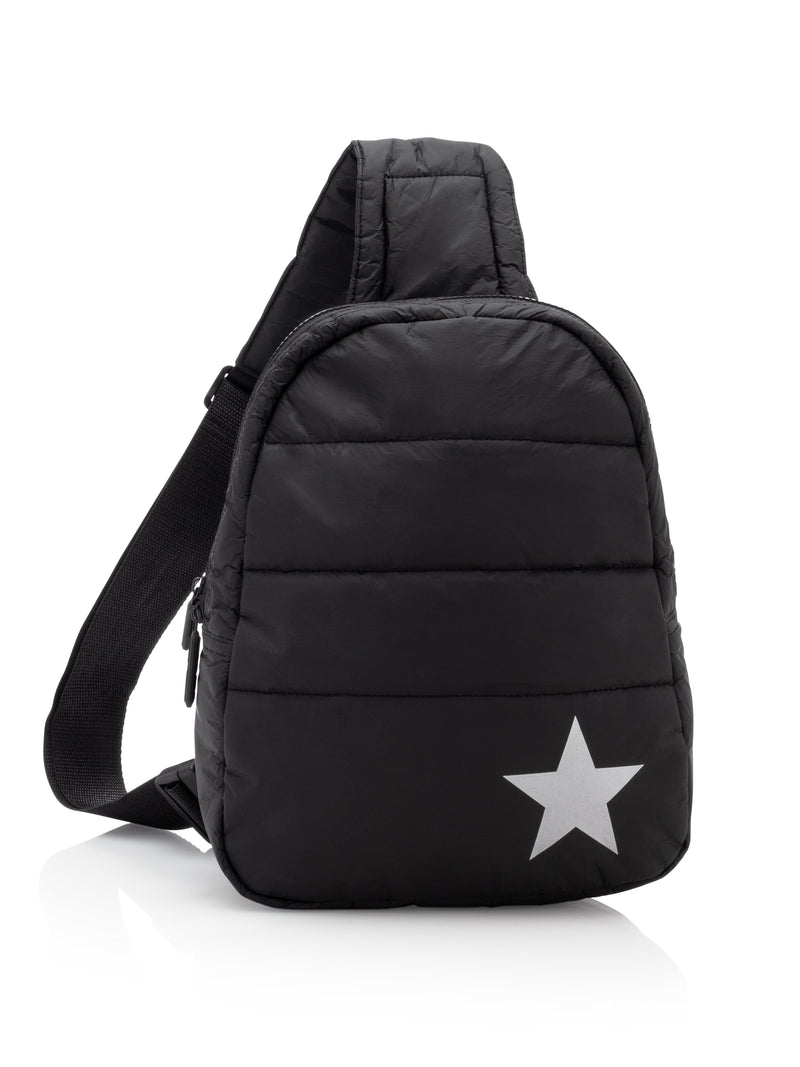 Hi Love Travel Puffer Backpack in Black with Silver Star