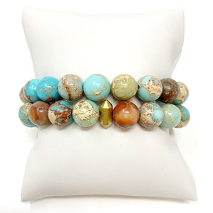Individual Beaded Stackers in Turquoise Multi