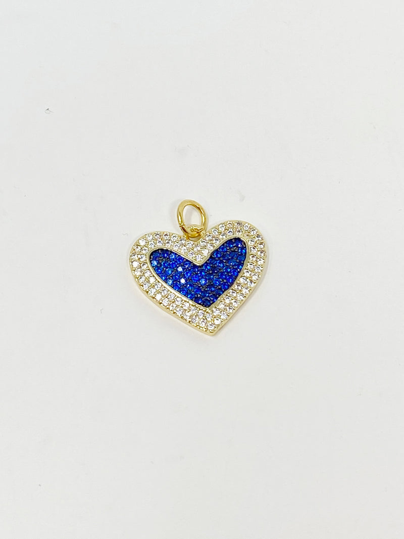 Charming Sapphire Blue and Clear Pave Heart Charm in Gold