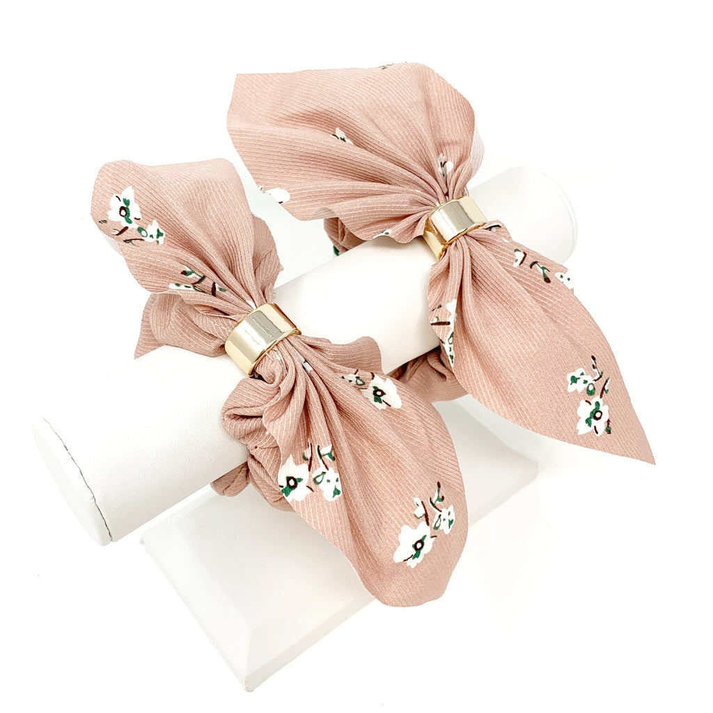 Floral Bow Scrunchie in Blush