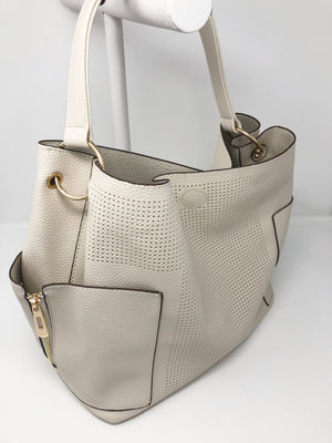 Large Perforated Bucket Bag in Bone