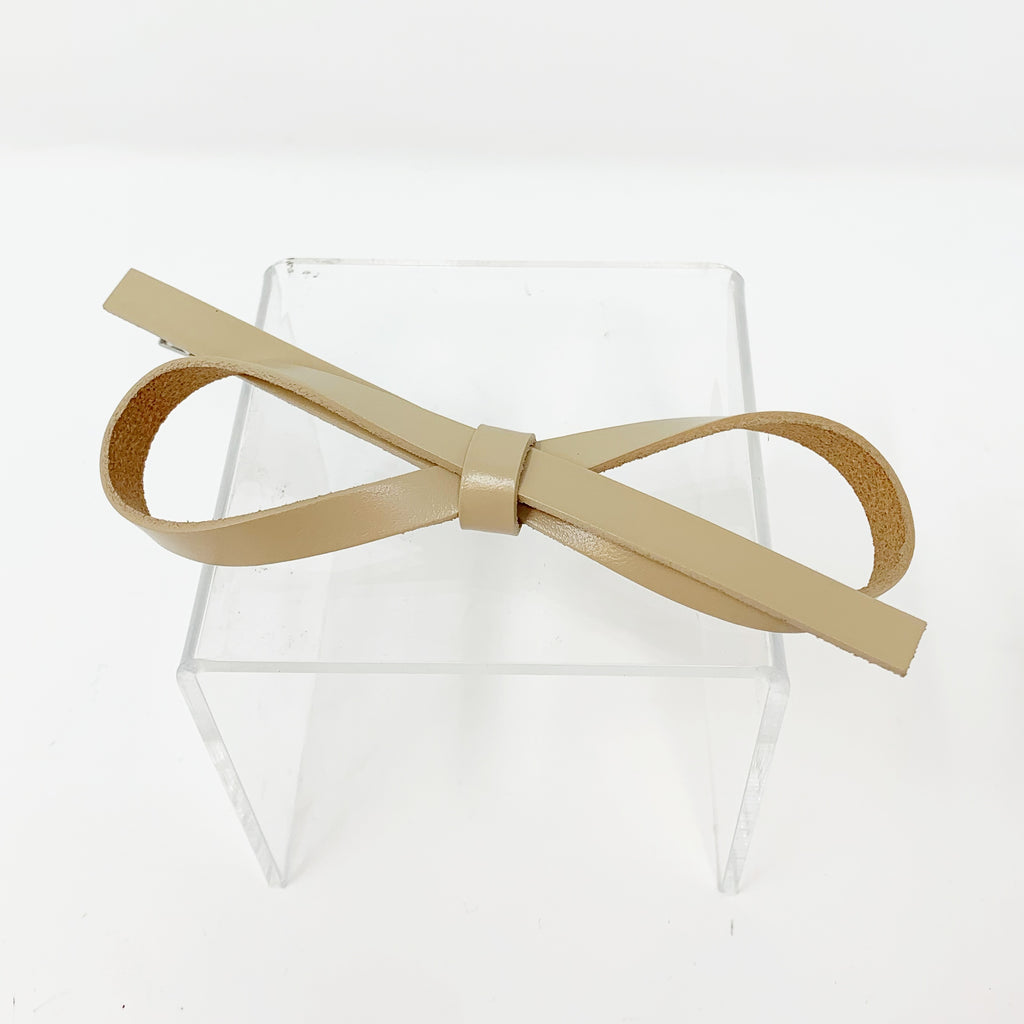 Vegan Leather Bow Hair Clip in Nude