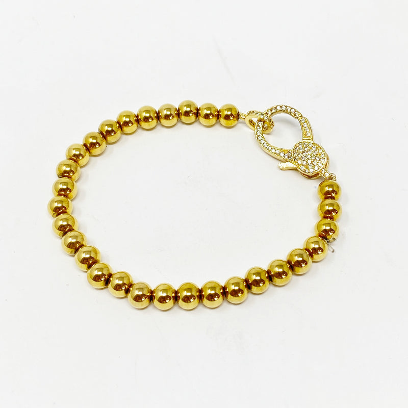 Charming Ball Bracelet with Pave Clasp in Gold