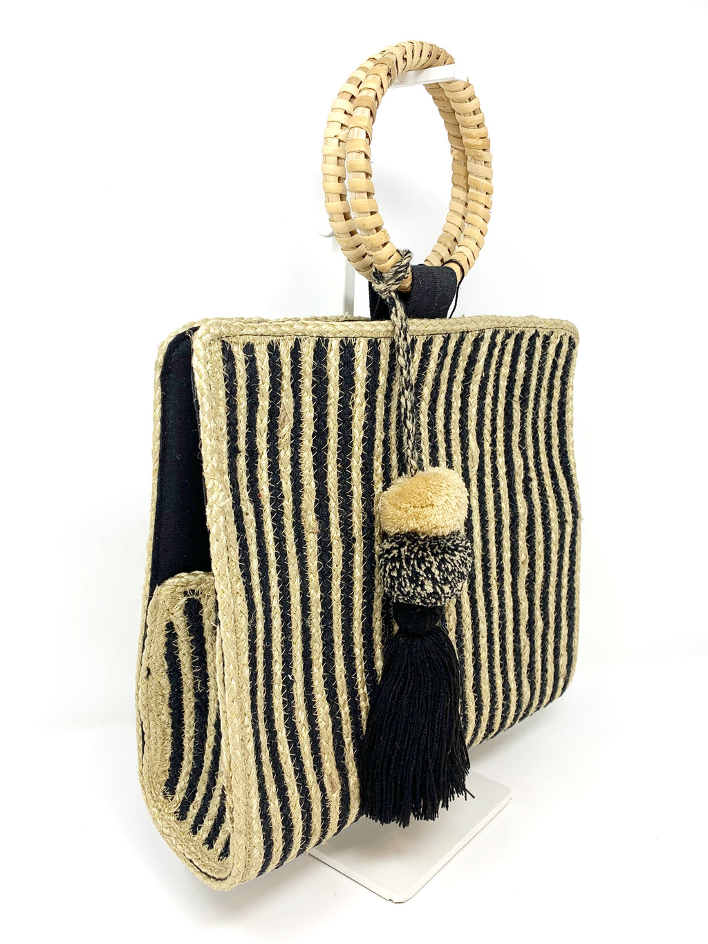 Shale Striped Handwoven Hand Held Tote
