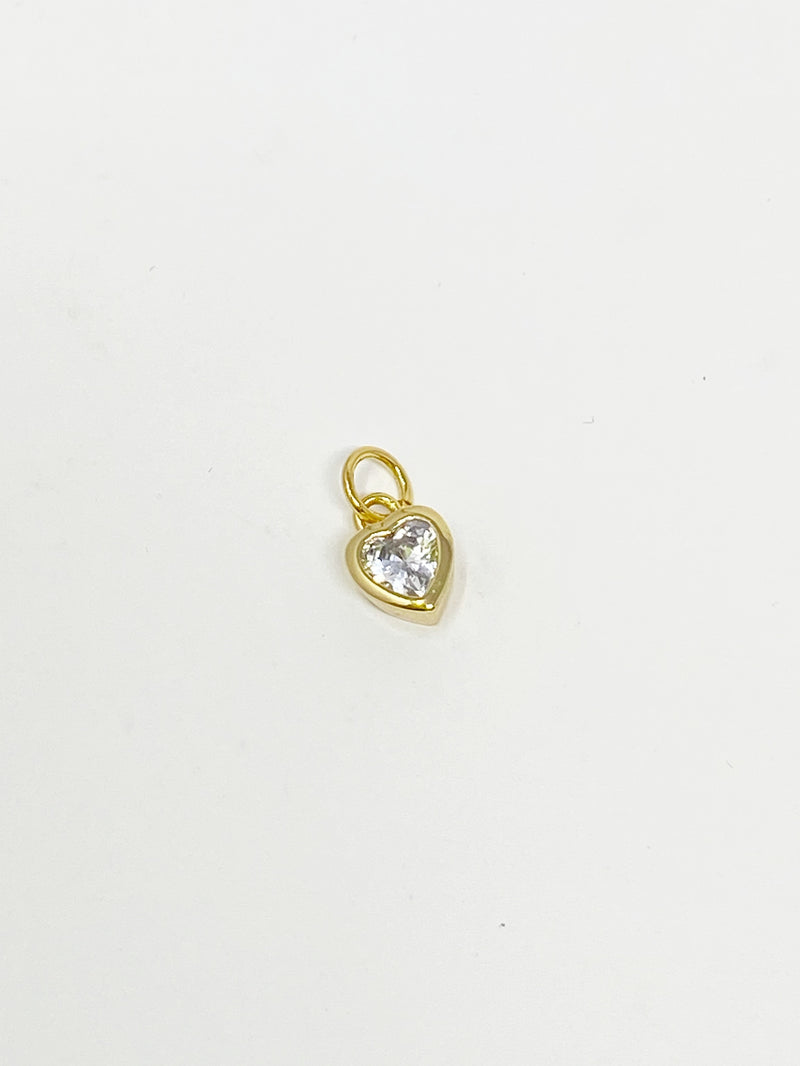 Charming Mini Bezel Set Heart Stone in Gold