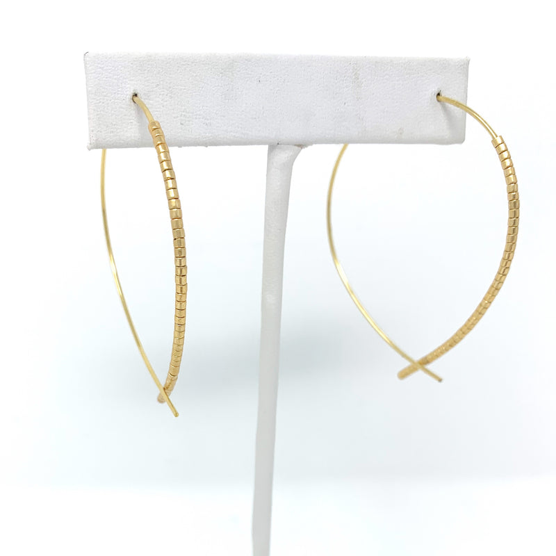 SALE! Beaded Wire Hoops in Gold