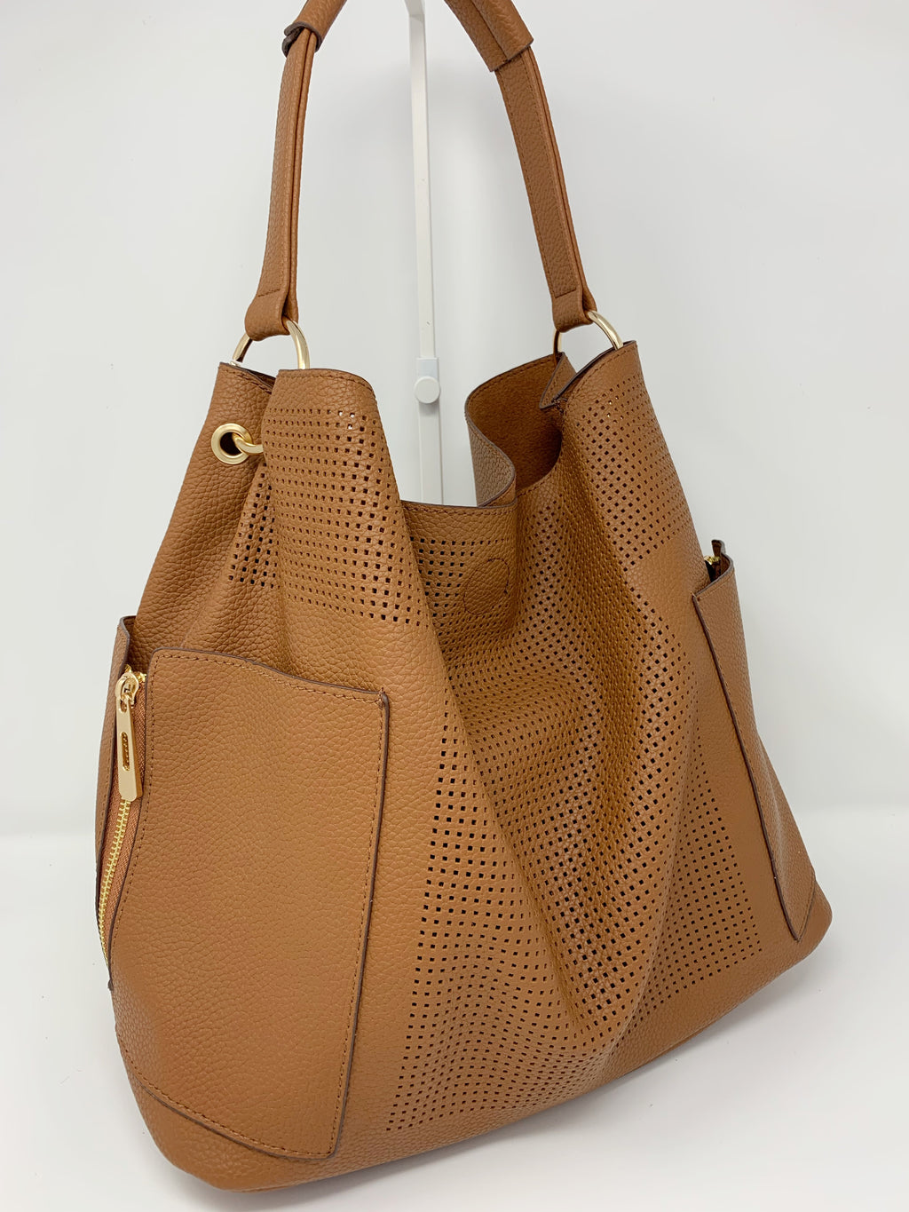 Large Perforated Bag in Cognac