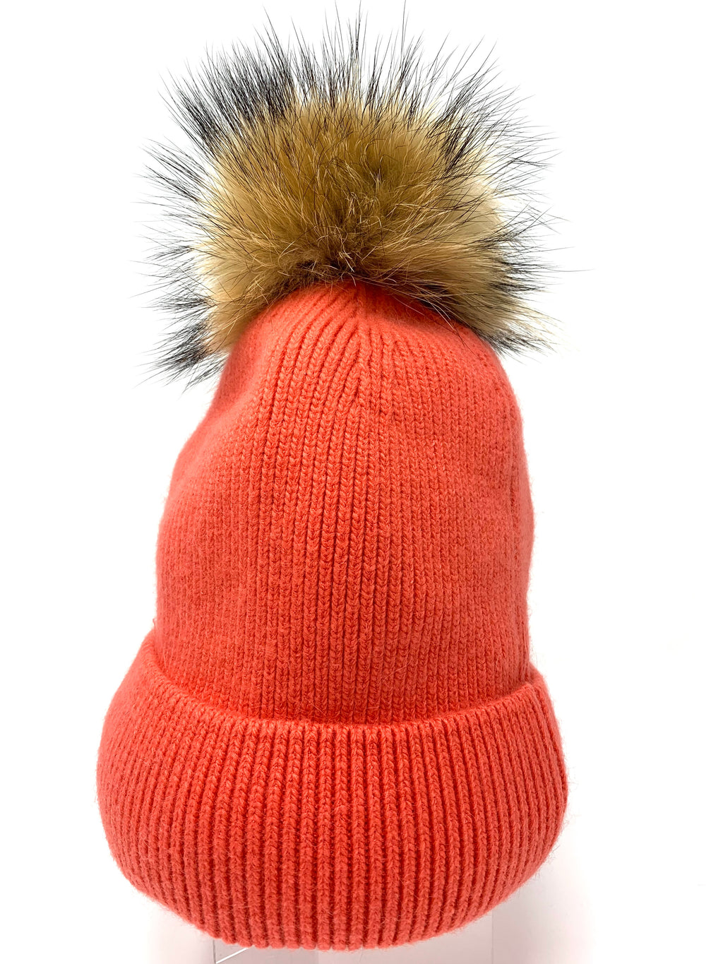 Fur Pom Hat in Coral