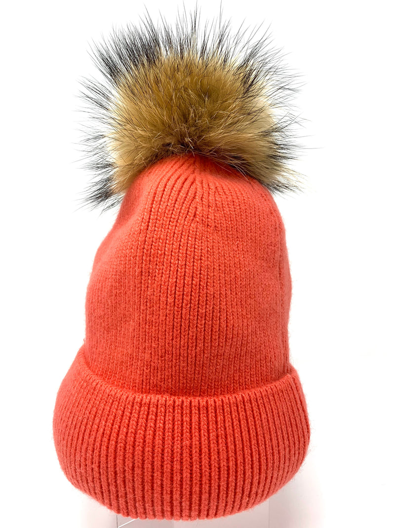 SALE! Fur Pom Hat in Coral