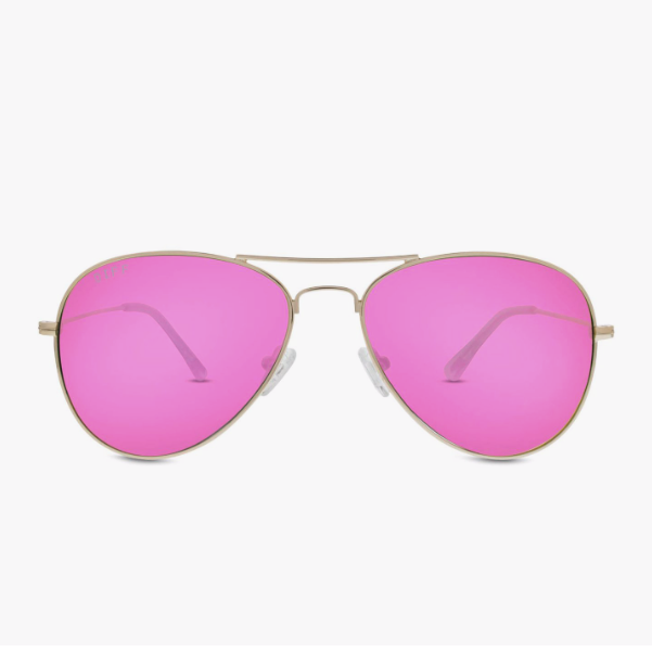 Cruz Aviator in Gold with Pink Mirror Lens