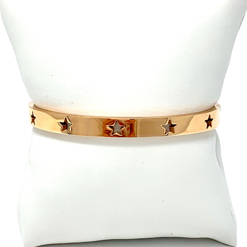 Stars Cutout Closed Cuff in Rose Gold