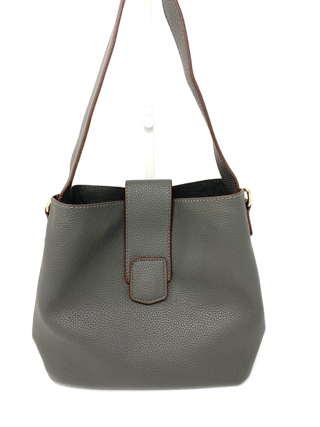 Medium Bucket Bag with Flap Closure in Dark Grey