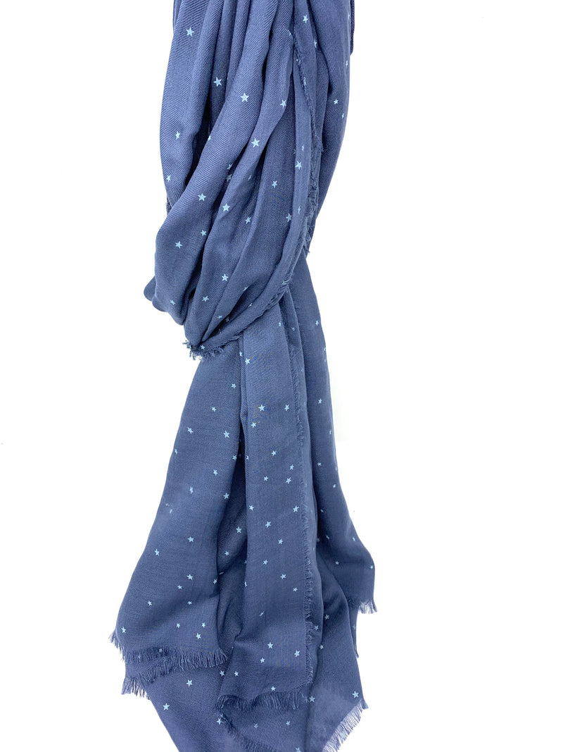 Scattered Stars Scarf in Medium Blue