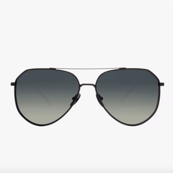 Dash Aviator in Brushed Black with Polarized Grey Blue Gradient Lens