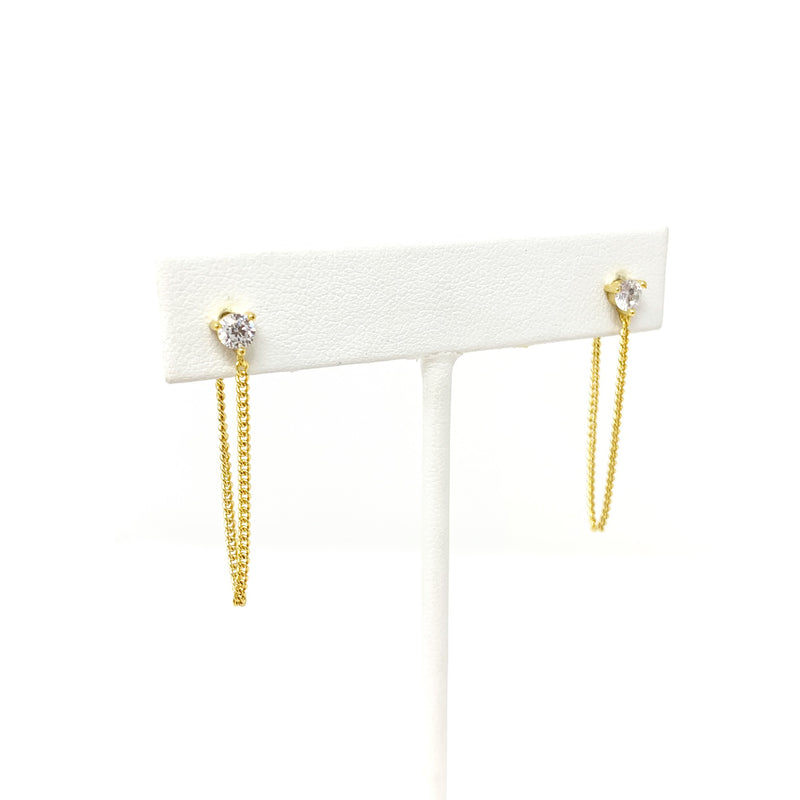 Kimmie Chain Stud Earrings in Gold