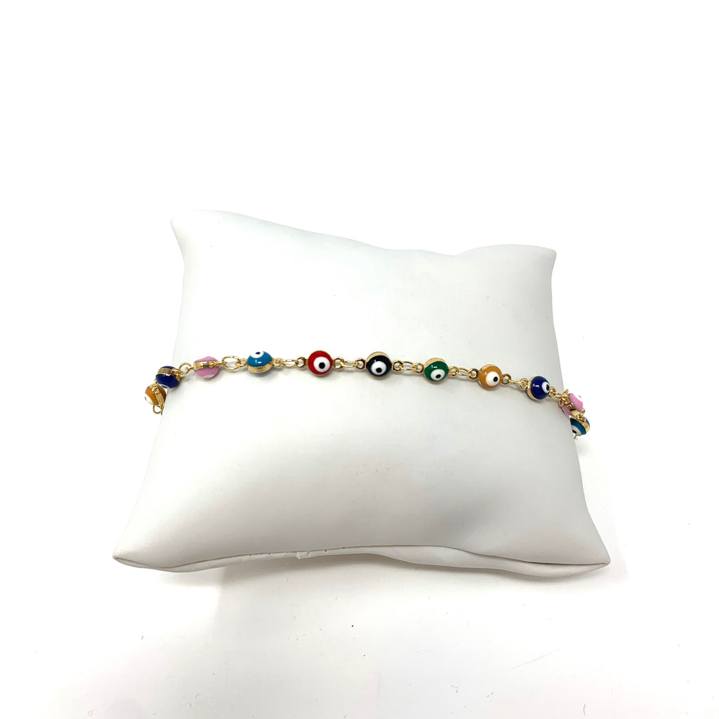 Evil Eye Rainbow Anklet in Gold