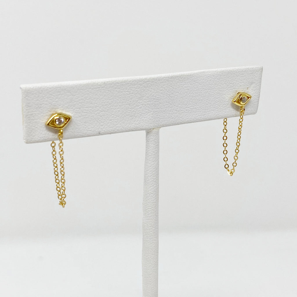 Evil Eye Chain Studs in Gold
