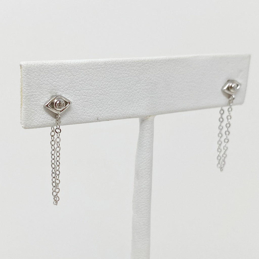 Evil Eye Chain Studs in Silver