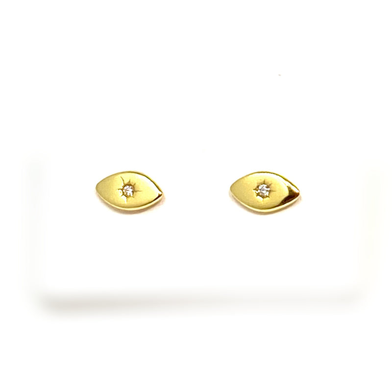 Golden Evil Eye Studs with Single Stone
