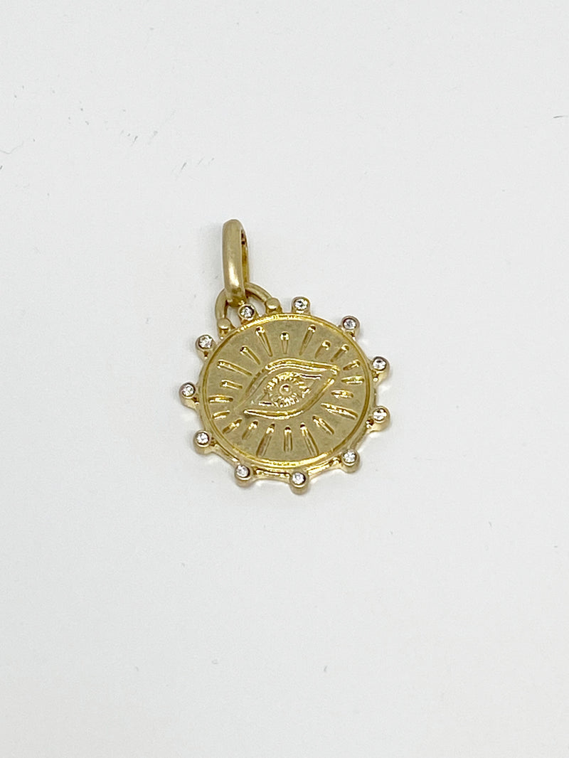 Charming Circle Evil Eye Charm with Scattered Stones in Gold
