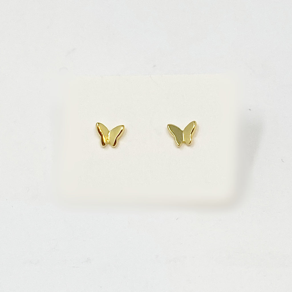 Mini Flying Butterfly Studs in Gold