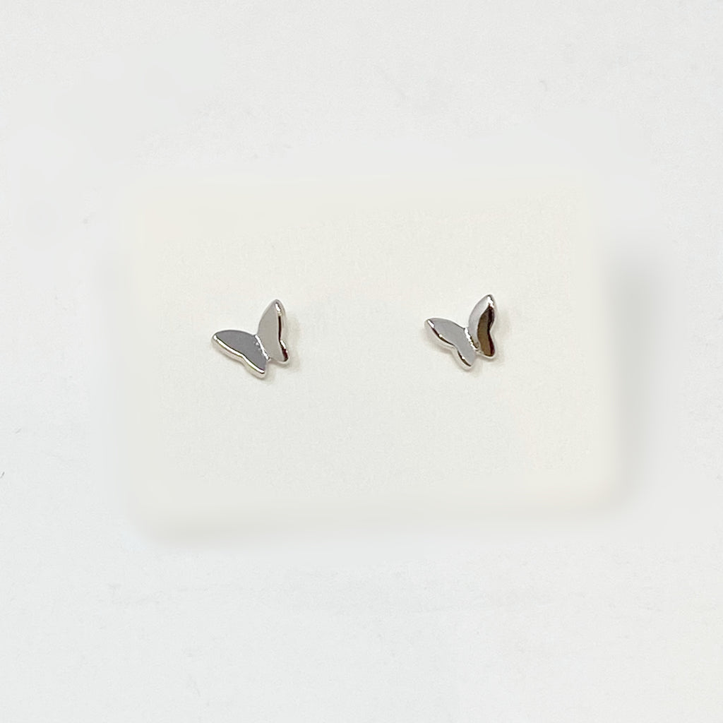 Mini Flying Butterfly Studs in Silver